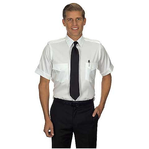 Van Heusen Men's 100% Cotton Non-Iron Aviator Pilot Shirt - Short Sleeve, White, 17H