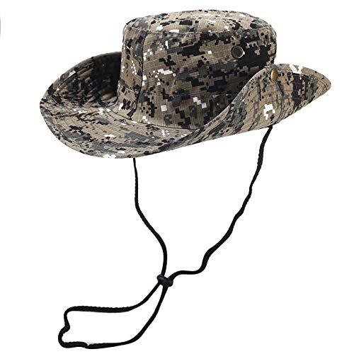 AcisuHu Summer Outdoor Hat Sunshade Camouflage Cap Adjustable Fishing Breathability Wrap Chapeau (Khaki, M)