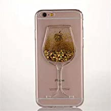 "Soft TPU Case for iphone 6/6S 4.7"",Red Wine Glass Bling Glitter Stars Goblet Flowing Transparent TPU Silicone Case for Apple iphone 6/6S 4.7 inch(Gold)"