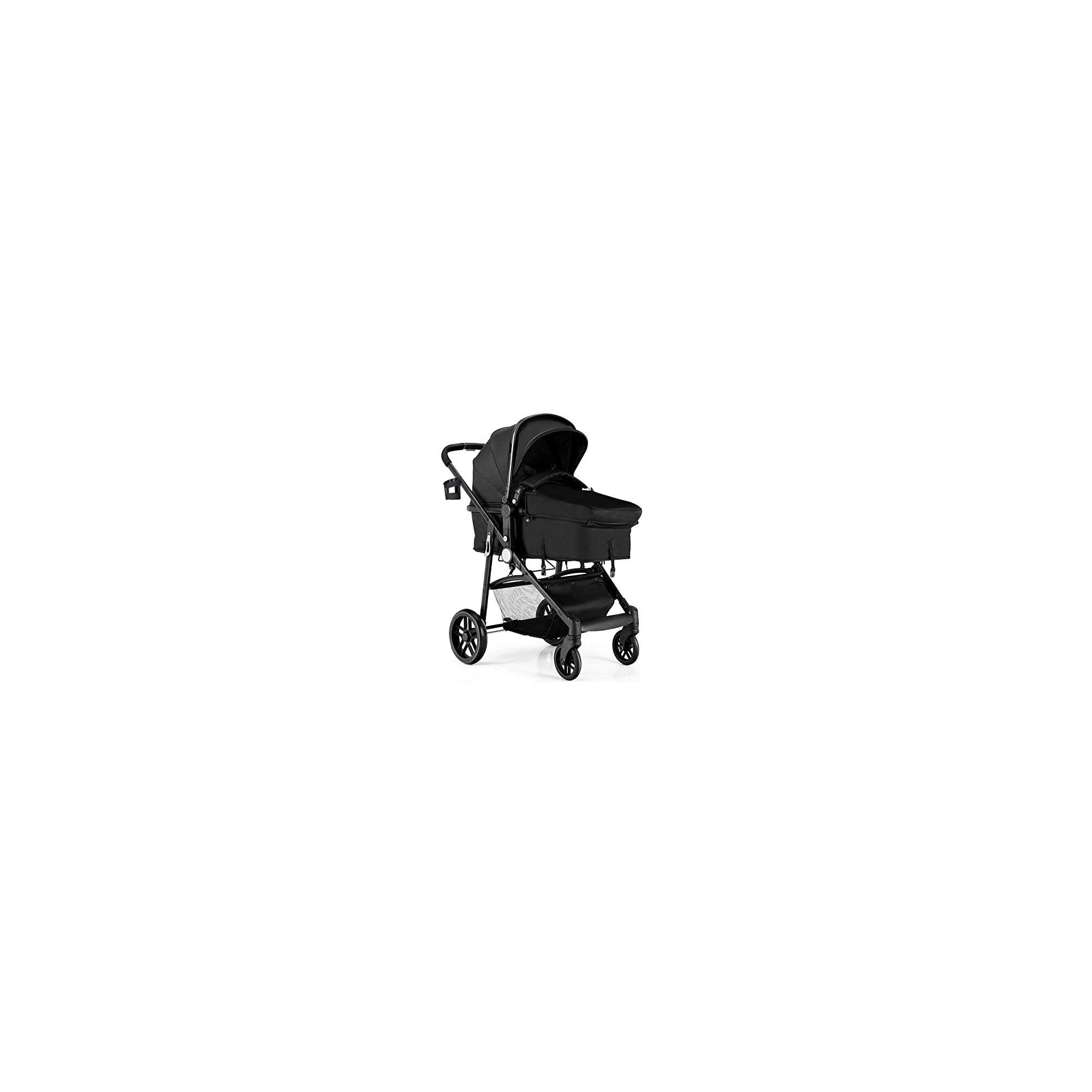 BABY JOY Baby Stroller, 2 in 1 Convertible Carriage Bassinet to Stroller, Pushchair with Foot Cover, Cup Holder, Large Storage Space, Wheels Suspension, 5-Point Harness (Champagne)