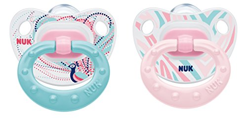 NUK 10176108 Silikon Beruhigungssauger (Schnuller) Happy Days mit Ring, Größe 2 (6-18 Monate), BPA-frei, 2 Stück, Girl