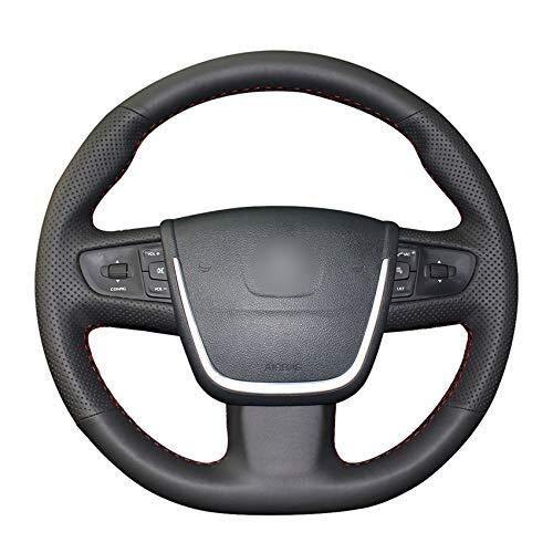 GXDHOME Cubierta del Volante del automóvil, Cuero Negro Cosido a ...