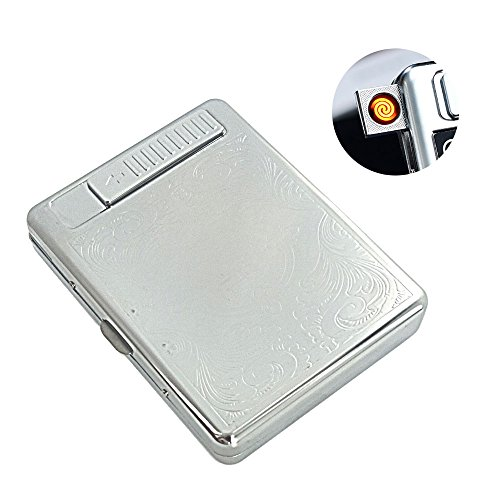 Flameless Windproof Rechargeable Electronic Lighter USB Cigarette Lighter Built-in Cigarette Case/Cards Box/Cigarette Holder Could Pack 20 Regular Cigarettes (Silver) by KAKAKA