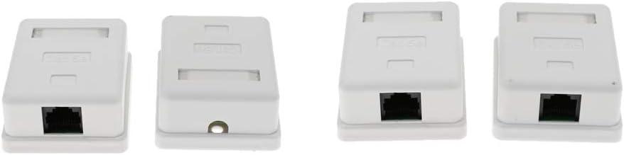 4 Piezas Caja Salida Rj45 Placa Solo Puerto Frontal Cat5e Montaje Superficie Posterior Combinada: Amazon.es: Electrónica