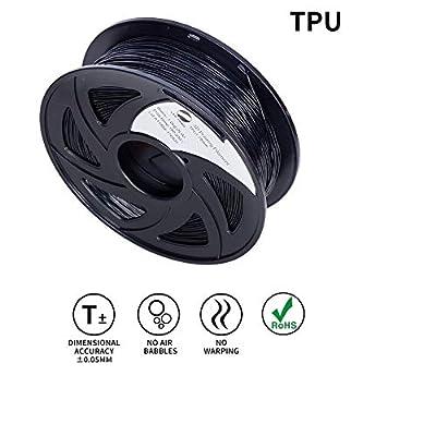 LEE FUNG 1.75mm TPU 3D Printing Filament Dimensional Accuracy +/- 0.05 mm 2.2 LB Spool DIY Material Tools (Black)