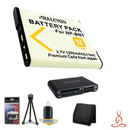 Halcyon 1200 mAH Lithium Ion Replacement NP-BN1 Battery + Memory Card Wallet + NP-BN1 Replacement Lithium Ion Battery + Deluxe Starter Kit for Sony Cyber-shot DSC-TX30 Digital Camera and Sony NP-BN1 by Halcyon