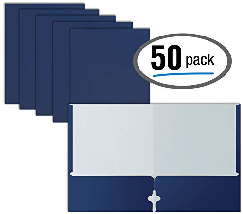 Two Pocket Portfolio Folders, 50-Pack, Blue, Letter Size Paper Folders, by Better Office Products, 50 Pieces, Blue