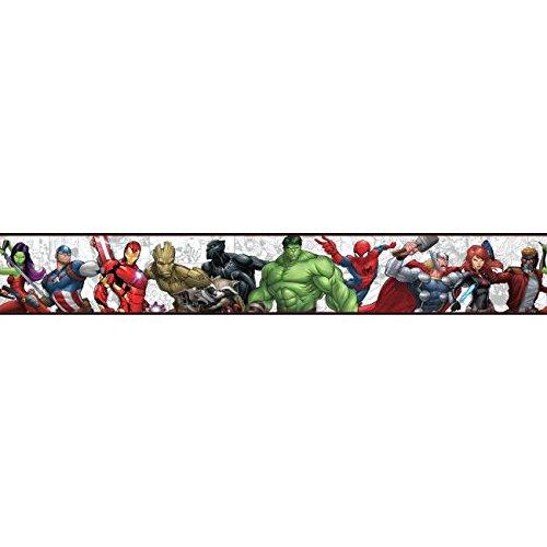 - York Wallcoverings Disney Kids III Marvel Characters Border, Black