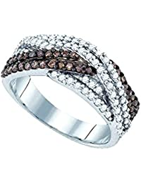 Sterling Silver Brandy Diamond Chocolate Brown Crossover Band Ring 3/4 Ctw.