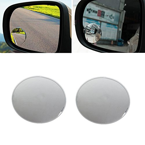 SCASTOE 360° Frameless Round HD Glass Convex Rear View Mirror Wide Angle Blind Spot Rearview Mirror, Pack of 2