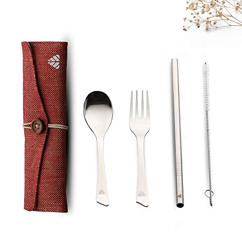 Rusabl (Earlier Minimo) Steelery Reusable Stainless Steel Cutlery Set. Ideal for Daily use, Gifting and Traveling (Contains : Spoon, Fork,Straw and Cleaner, Napkin, Jute Pouch) (Red, Spoon + Fork) Price & Reviews