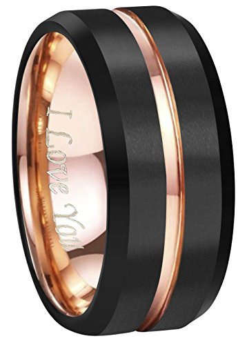 CROWNAL 4mm 6mm 8mm 10mm Rose Gold Groove Black Matte Finish Tungsten Carbide Wedding Band Ring Engraved I Love You (10mm,12)