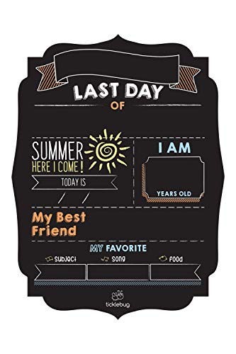 (Fayfaire Last Day of School Chalkboard – School is Out Milestone Sign for Last Day of School Stats Photo)