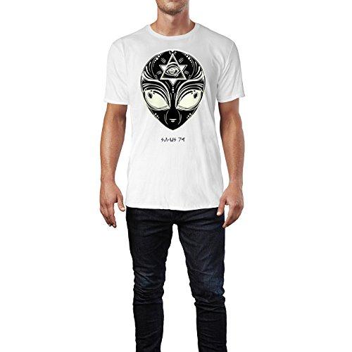 SINUS ART ® Aliengesicht mit Iluminaten Symbol Herren T-Shirts in Weiss Fun Shirt mit tollen Aufdruck
