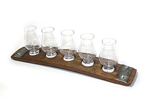 (Barrel-Art 5 glass Premium flight/whiskey flight/scotch flight/Whiskey tasting set/Glencairn Glasses/scotch serving tray/serving tray)