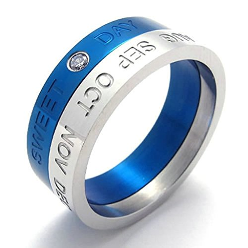 Adisaer Rings Stainless Steel Womens Round 8MM Blue Silver Size 10 Ring Bands for Women Ring Retro - And M Insurance Wedding S