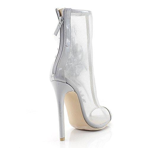 Moda Vogue Alti Tacchi Stivaletti Per Peep Sempre Grigio Maglia Toe Floreale Dressy Di Applique 0Zqa01