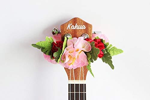 - ukuhappy Ukulele Ribbon Leis Hawaiian Crafts Ukulele Accessories Hibiscus (pink red)