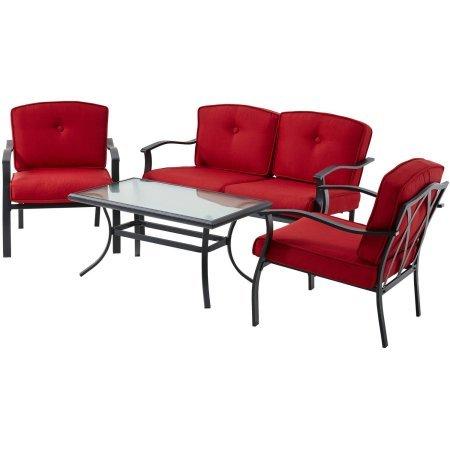 Amazon.com: Mainstays Belden Park 4-Piece sofá Set- Rojo ...