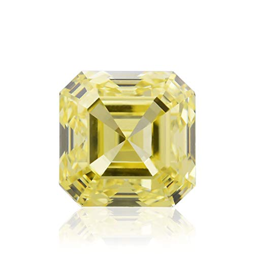 (0.66Cts Fancy Yellow Loose Diamond Natural Color Asscher Shape GIA Certified)