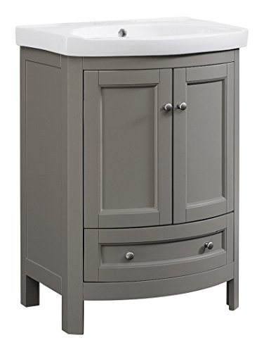 Runfine RFVA0069G 24.6 Inch Wide All Wood Modern Vanity With Vitreous China Top, Gray