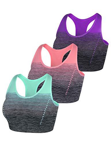 Sykooria Sportbeha voor dames gevoerde beha Hoge intensiteit zonder beugel met kleurverloop voor yoga fitness