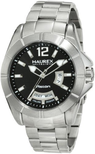 Haurex Italy Men's 7A366UNN Aston Stainless-Steel Black Date Watch - Stainless Aston Steel Watch