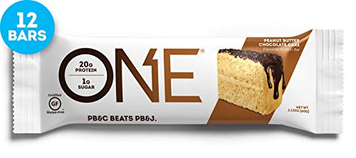 Sugar Free Chocolate Peanuts - ONE Protein Bars, Peanut Butter Chocolate Cake, Gluten Free Protein Bars with 20g Protein and only 1g Sugar, Guilt-Free Snacking for High Protein Diets, 2.12 oz (12 Pack)