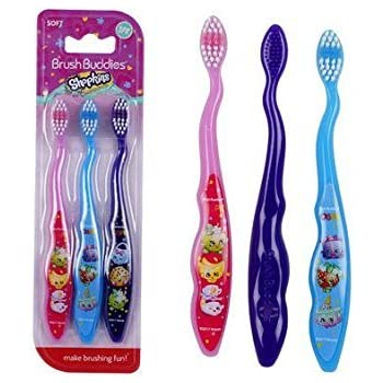 Brush Buddies Shopkins Kids Toothbrush 3-Pack - Soft