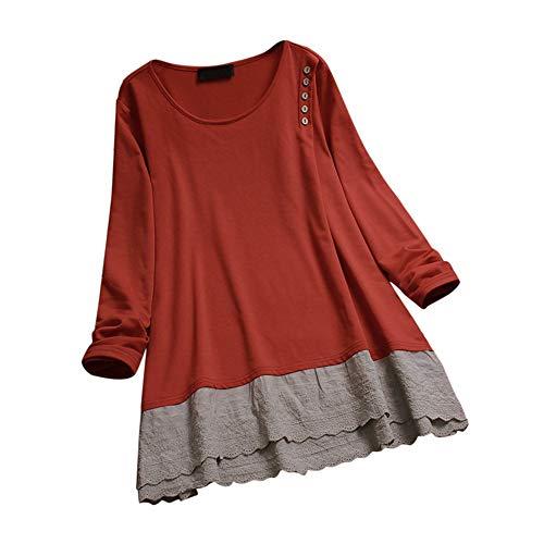 Aniywn Women's Plus Size Linen Vintage T-Shirt Loose Printed Patchwork 3/4 Sleeve Tops Blouse Orange