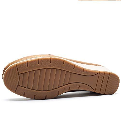 Schuhe Geeignet Damen Jahreszeiten Damen Atmungsaktive Leder Arbeit Schuhe alle CESTFINI Schuhe für Plateau Camel4 Wahl PU für Bequeme Damen Alltag und Mokassin 4qtIxBwT