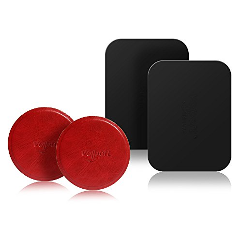Leather Mount Metal Plate 2 Round, Universal Metal Plate 2 Rectangle, for Magnetic Car Phone Mount Holder(Red+Rectangle) ()