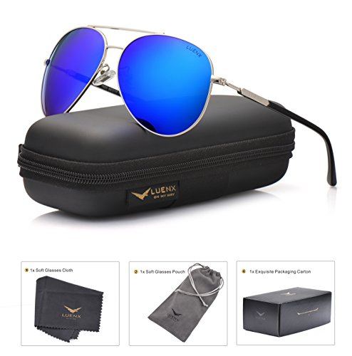 LUENX Mens Womens Aviator sunglasses Polarized & with Case - UV 400 Protection Dark Blue Lens Silver Frame 60mm