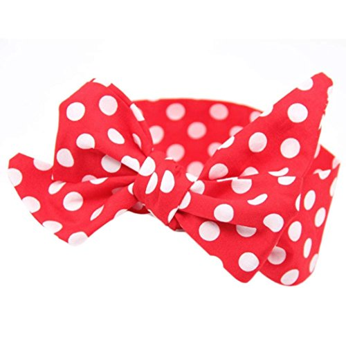 "Baby Hairband,Leedford 2018 Summer Baby Dot Print Rabbit Ears Elastic Bowknot Headband Bohemia Headdress (42.52.8"", Red)"