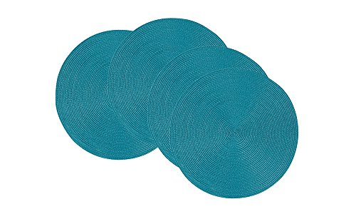 Now Designs Disko Round Placemats, Set of Four, Peacock - This placemat set includes four matching woven placemats Each placemat in the set measures 15 inches in diameter Sturdy and durable, these placemats are ideal for year round dining indoors or outdoors - placemats, kitchen-dining-room-table-linens, kitchen-dining-room - 41QpLDtzyzL -