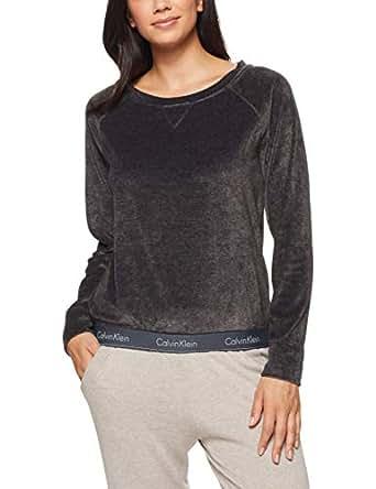 Calvin Klein Women's Cotton Loungewear Velour L/S Sweatshirt, Washed Black, S
