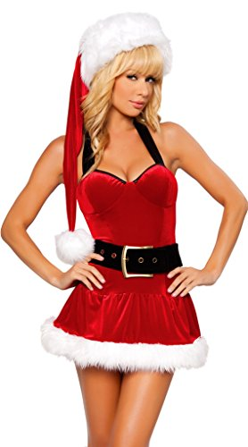 WELVT Girl's Miss Santa Christmas Elf Costumes Suit With Hat Sexy Lingerie Sets3 (Plus Size Sexy Santa Christmas Costume)