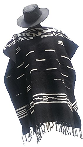 SHARPSHOOTER Clint Eastwood Spaghetti Western Original Pattern 100% Wool Poncho w Leather Hat