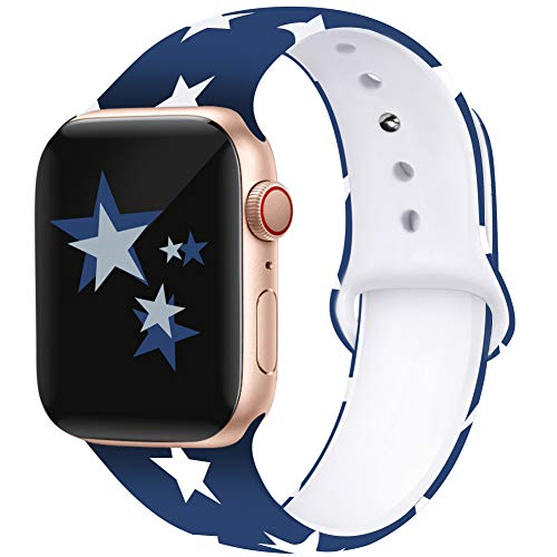 Kaome Floral Bands Compatible with Apple Watch 38mm 40mm 42mm 44mm, Soft Silicone Fadeless Pattern Printed Replacement Strap Bands for Women, Compatible with iWatch Series 4/3/2/1, S/M M/L