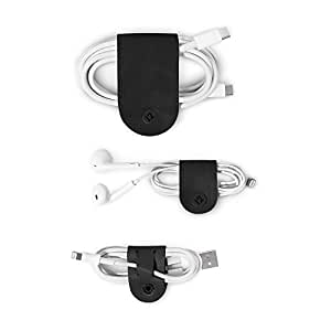 Twelve South CableSnap | 3pk, Leather cable organizers, black