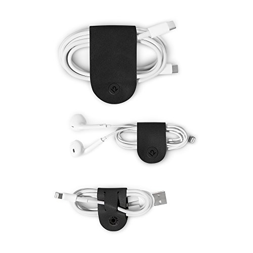 Twelve South CableSnap   3pk, Leather cable organizers, black