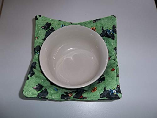 Microwave Bowl Cozy Holder Soup Cozies Mary Engelbreit Scotties on Pale Green Reversible Pot Holder All Cotton Handmade Gift Hot Cold