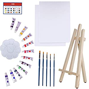 Art Canvas Paint Set Supplies – 22-Piece Canvas Acrylic Painting Kit with Wood Easel, 8×10 inch Canvases, 12 Non Toxic Washable Paints, 5 Brushes, Palette and Color Mixing Guide
