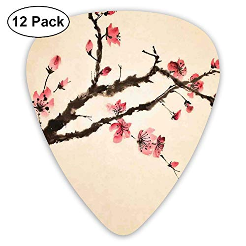 (Celluloid Guitar Picks - 12 Pack,Abstract Art Colorful Designs,Traditional Chinese Paint Of Figural Tree With Details Brushstroke Effects Print,For Bass Electric & Acoustic Guitars.)