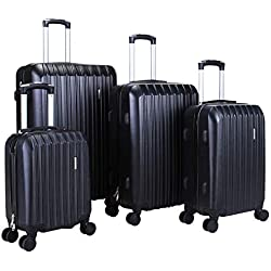 """Murtisol 4 Pieces ABS Luggage Sets Hardside Spinner Lightweight Durable Spinner Suitcase 16"""" 20"""" 24"""" 28"""",4PCS Black"""