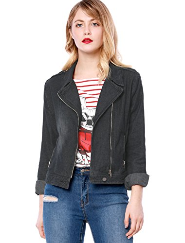 Allegra K Women's Notched Lapel Asymmetric Zip Moto Denim Jacket M Black