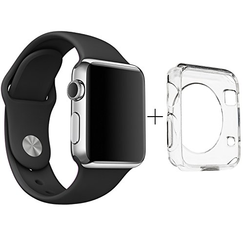 Apple Watch 38mm Band, ClockChoice Silicone Strap Sport Replacement Kit for iWatch, BLACK  Bonus Case Included   No adapter needed   Includes 3 Pieces, for 2 Lengths   For Women and Men Use