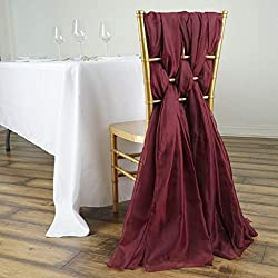 Efavormart 5 Pack 6 Ft BURGUNDY DIY Premium Chiffon Designer Chair Sashes for Wedding Banquet Decor Chair Bow Sash Party