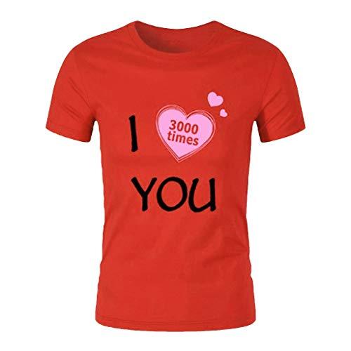 POHOK Men Print Shirt Summer Mens Fashion Casual Letter Solid Color Short Sleeve I Love You T-Shirt (S,Red)