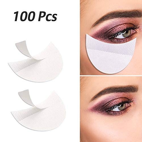100 Pcs Professional Eyeshadow Pads Stencils Lint Free Under Eye Pads Eyeshadow Patches For Eyelash Extensions/Lip ()